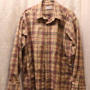 L.L. Bean long sleeved button down plaid shirt